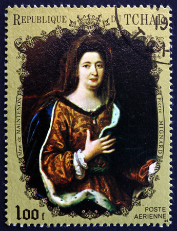 chadian: CHAD - CIRCA 1971: a stamp printed in Chad shows Madame de Maintenon, Painting by Pierre Mignard, French Painter, circa 1971 Editorial