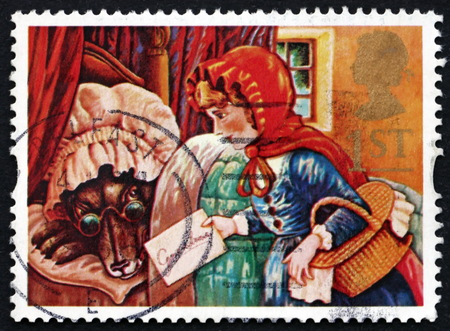 great britain: GREAT BRITAIN - CIRCA 1994: a stamp printed in Great Britain shows Little Red Riding Hood and the Wolf, Fairy Tale, circa 1994 Editorial