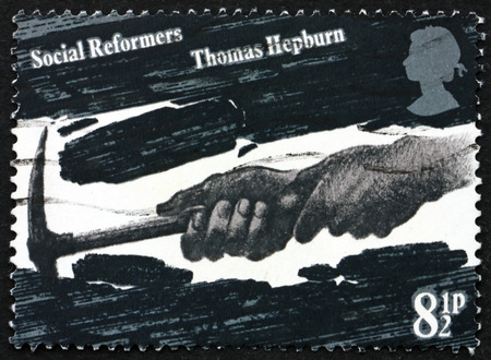 reformer: GREAT BRITAIN - CIRCA 1976: a stamp printed in Great Britain shows Coal Miners Hands, dedicated to Thomas Hepburn, Social Reformer, circa 1976