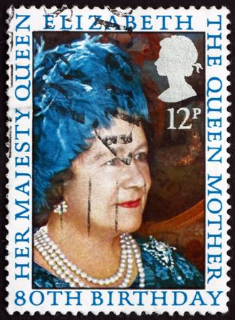 80th: GREAT BRITAIN - CIRCA 1980: a stamp printed in Great Britain shows Queen Mother Elizabeth, 80th Birthday, circa 1980 Editorial