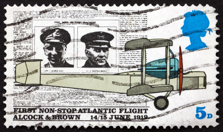 GREAT BRITAIN - CIRCA 1969: a stamp printed in Great Britain shows Alcock, Brown, Daily Mail and Vickers Vimy Plane, 50th Anniversary of the First non-stop Atlantic Flight, circa 1969