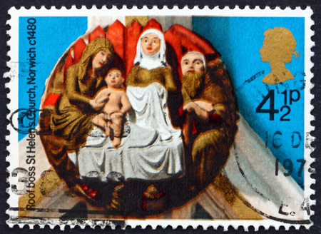 helens: GREAT BRITAIN - CIRCA 1974: a stamp printed in the Great Britain shows Nativity, St. Helens, Norwich, about 1480, circa 1974