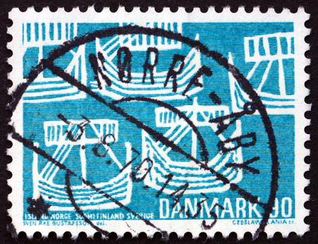 ancient ships: DENMARK - CIRCA 1969: a stamp printed in Denmark shows Five Ancient Ships, Nordic Cooperation, circa 1969
