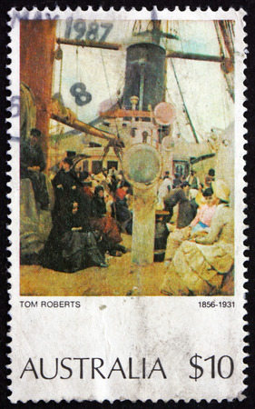 roberts: AUSTRALIA - CIRCA 1977: a stamp printed in Australia shows Coming South (Immigrants), Painting by Tom Roberts, circa 1977