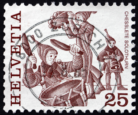 folk customs: SWITZERLAND - CIRCA 1977: a stamp printed in the Switzerland shows Chesslete, Carnival Tradition of Solothurn, Folk Customs, circa 1977