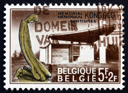 missionary: BELGIUM - CIRCA 1967: a stamp printed in the Belgium shows Kongolo Memorial, Erected in Memory of Missionary and Civilian Victims in the Congo, Gentinnes, circa 1967