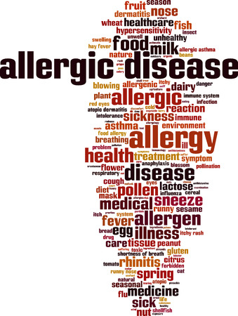 hay fever: Allergic disease word cloud concept. Vector illustration Illustration