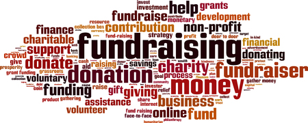 fundraiser: Fundraising word cloud concept. Vector illustration