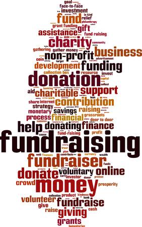 voluntary: Fundraising word cloud concept. Vector illustration