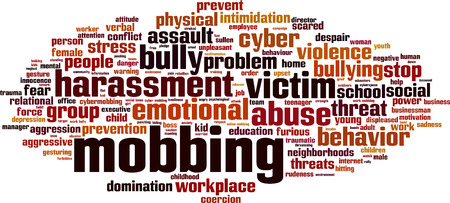 intimidation: Mobbing word cloud concept. Vector illustration