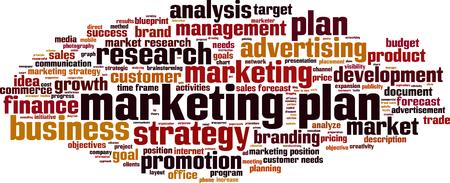 brand activity: Marketing plan word cloud concept. illustration Illustration