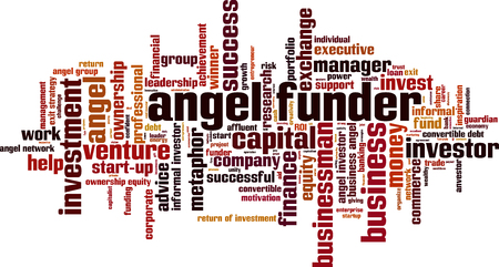 ownership equity: Angel funder word cloud concept. illustration