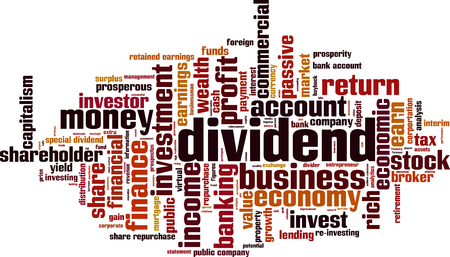 passive earnings: Dividend word cloud concept. illustration Illustration
