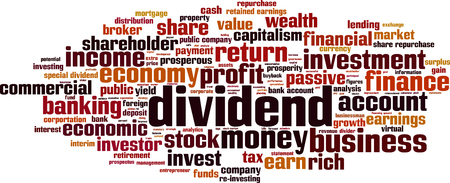 retained: Dividend word cloud concept. Vector illustration