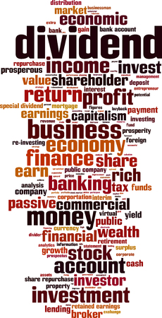 dividend: Dividend word cloud concept. Vector illustration
