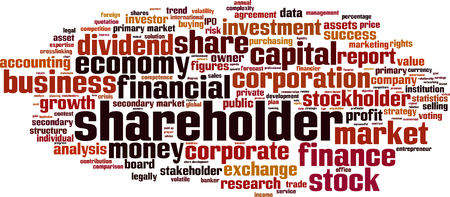 share prices: Shareholder word cloud concept. Vector illustration Illustration
