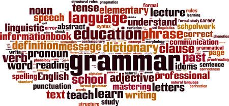 semantics: Grammar word cloud concept. Vector illustration