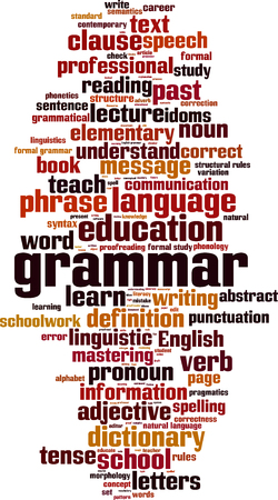grammatical: Grammar word cloud concept. Vector illustration