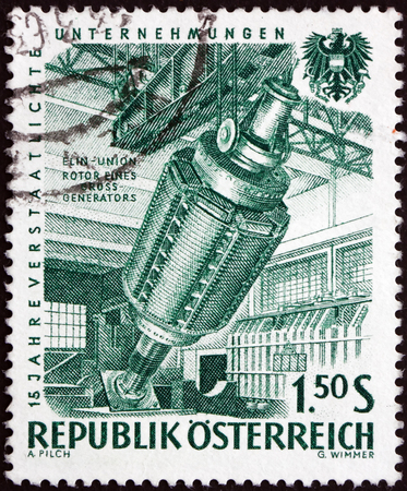 generator industry: AUSTRIA - CIRCA 1961: a stamp printed in Austria shows Generator, 15th Anniversary of Nationalized Industry, circa 1918