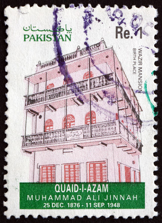 jinnah: PAKISTAN - CIRCA 1993: a stamp printed in Pakistan shows Wazir Mansion, Birthplace of Mohammad Ali Jinnah, Lawyer, Politician and the Founder of Pakistan, circa 1993