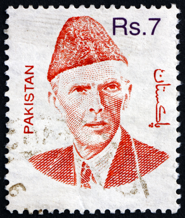 mohammad: PAKISTAN - CIRCA 1998: a stamp printed in Pakistan shows Mohammad Ali Jinnah, Lawyer, Politician and the Founder of Pakistan, circa 1998