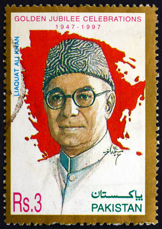 statesman: PAKISTAN - CIRCA 1997: a stamp printed in Pakistan shows Liaquat Ali Khan, Statesman, Lawyer, and Political Theorist, Was One of the Leading Founding Fathers of Pakistan, Independence, 50th Anniversary, circa 1997