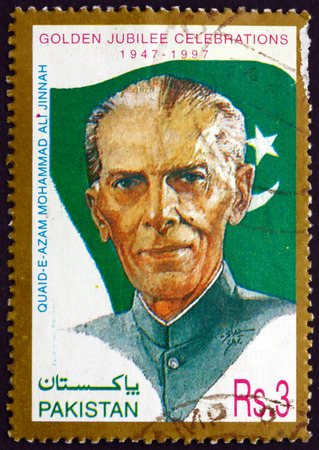 jinnah: PAKISTAN - CIRCA 1997: a stamp printed in Pakistan shows Mohammad Ali Jinnah, Lawyer, Politician and the Founder of Pakistan, Independence, 50th Anniversary, circa 1997