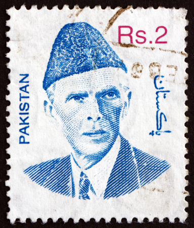jinnah: PAKISTAN - CIRCA 1998: a stamp printed in Pakistan shows Mohammad Ali Jinnah, Lawyer, Politician and the Founder of Pakistan, circa 1998