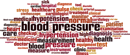 systolic: Blood pressure word cloud concept. Vector illustration