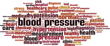 arterial: Blood pressure word cloud concept. Vector illustration