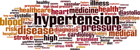 diastolic: Hypertension word cloud concept. Vector illustration Illustration