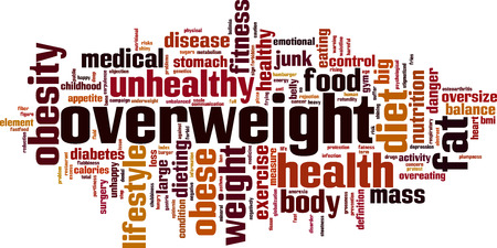 fatness: Overweight word cloud concept. Vector illustration