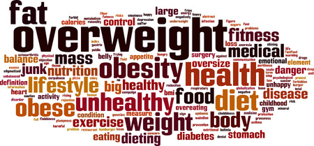 unbalanced: Overweight word cloud concept. Vector illustration