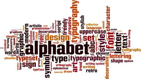 pronunciation in letters: Alphabet word cloud concept. Vector illustration