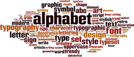 pronunciation: Alphabet word cloud concept. Vector illustration