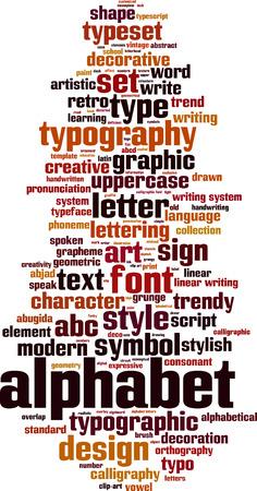 Alphabet word cloud concept. Vector illustration