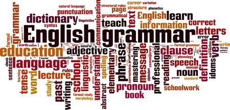 semantics: English grammar word cloud concept. Vector illustration
