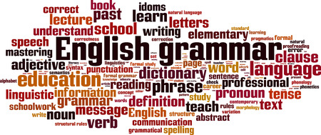 grammatical: English grammar word cloud concept. Vector illustration