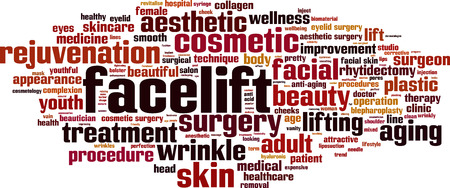 wrinkly: Facelift word cloud concept. Vector illustration Illustration