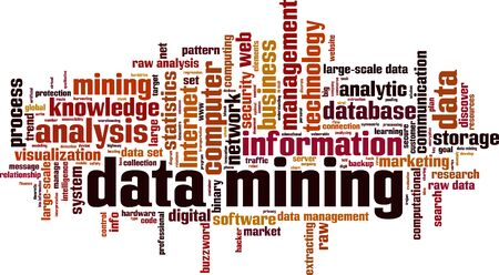 computational: Data mining word cloud concept. Vector illustration