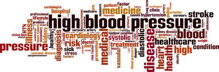 coronary artery: High blood pressure word cloud concept. Vector illustration