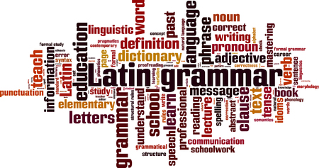 grammatical: Latin grammar word cloud concept. Vector illustration