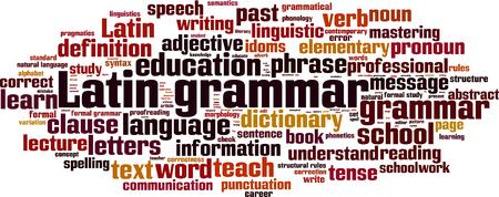 semantics: Latin grammar word cloud concept. Vector illustration