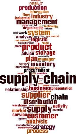 raw material: Supply chain word cloud concept. Vector illustration Illustration