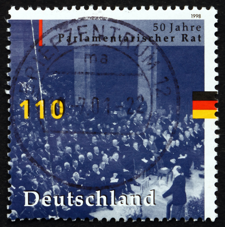 parliamentary: GERMANY - CIRCA 1998: a stamp printed in the Germany shows Parliamentary Council, Bonn, 1948, Convening to Draw up Constitution, circa 1998