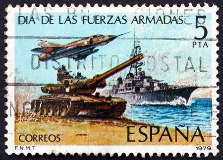 commemorate: SPAIN - CIRCA 1979: a stamp printed in the Spain shows Tank, Jet and Destroyer, Armed Forces Day, circa 1979