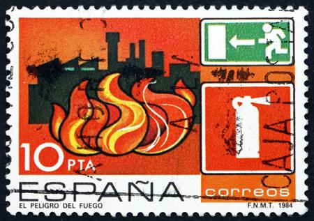 industrial accident: SPAIN - CIRCA 1984: a stamp printed in the Spain shows Fire, Industrial Accident Prevention, circa 1984 Editorial