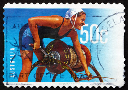 australia stamp: AUSTRALIA - CIRCA 2007: a stamp printed in the Australia shows Female Lifeguard, Surf Life Saving Australia, Centenary, circa 2007 Editorial