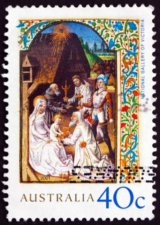 adoration: AUSTRALIA - CIRCA 2001: a stamp printed in the Australia shows Adoration of the Magi, Illumination from the Wharncliffe Hours, Christmas, circa 2001
