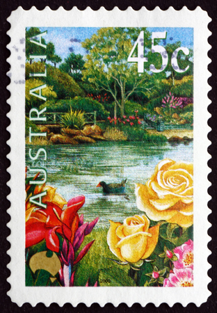 jardines con flores: AUSTRALIA - CIRCA 2000: a stamp printed in the Australia shows Garden, Pond, Roses and Purple Swamphen, circa 2000